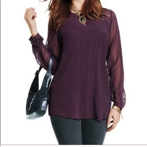 CAbi Entice Sheer Plum Blouse Top #3092 Size Large